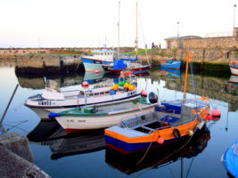 Stroll along a beautiful harbor in Northern Ireland