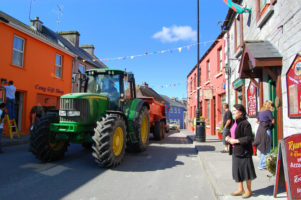 Tractor and traffic jam in Ireland small towns