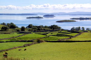 Serene Lough Corrib in County Galway western Ireland